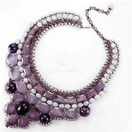 Signed Thorin & Co. bib necklace with milky purple and white