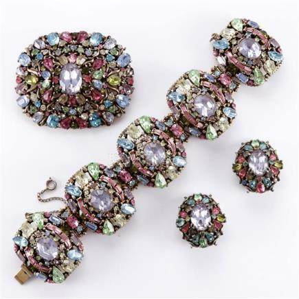 1950 Hollycraft 3 piece parure of bracelet, pin, and earring