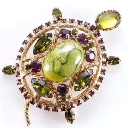 1960 Juliana turtle pin brooch pendant with purple and green