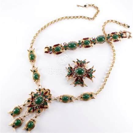 1960 Juliana 3 piece parure including gold tone necklace, br
