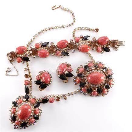 1950 Juliana 4 piece parure including necklace, bracelet, pi
