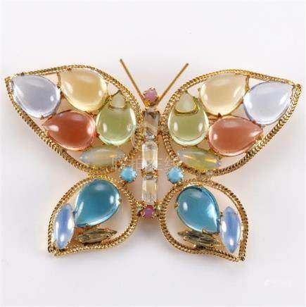 1950 Juliana butterfly pin with multi-coloured pastel caboch