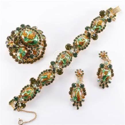 1950 Juliana green rhinestone and mottled metallic amber and