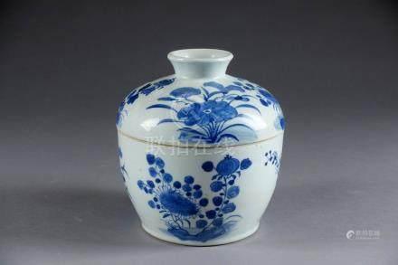 Pot couvert. Porcelaine de Chine décorée, en camaïeu de bleu, de végétaux épano