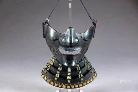Masque de Samouraï Mempo. A bouche largement ouverte. Protection de la gorge, e