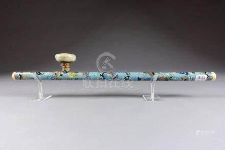 Pipe à Opium, chinoise. Métal cloisonné et émaillé d'un décor de jardinières fl