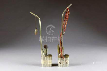 Deux Pipes à eau. Métal à incrustations de plaques d'os (?) gravées et émaillée