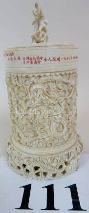 A Chinese carved ivory pot and cover, c.