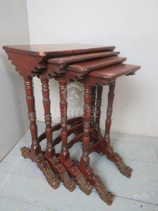 A 19th Century nest of Chinese red lacqu