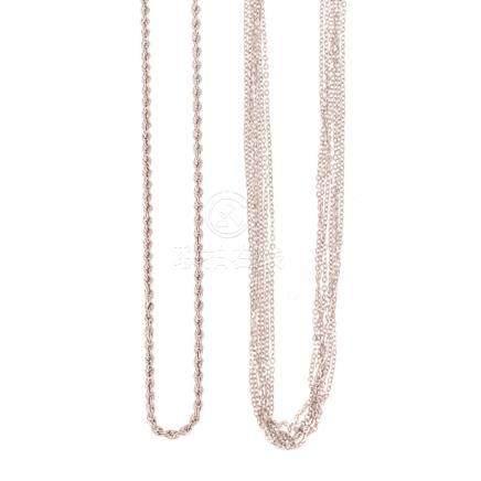 A Pair Ladies White Gold Necklaces