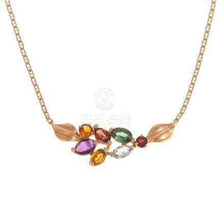 A Ladies Multi-Stone Necklace in 14K Gold