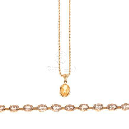 A Ladies Colored Stone Necklace & Bracelet in 14K