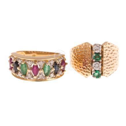 Pair Ladies 14K Gold Gemstone Rings