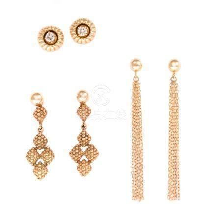 A Trio of Ladies 14K Gold Earrings