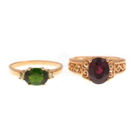 Pair of Ladies Gemstone Rings in 14K Gold