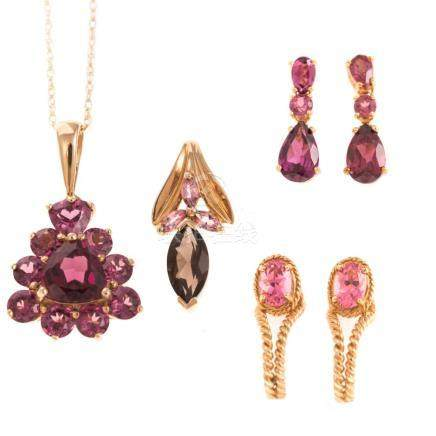 A Collection of Ladies Gemstone Jewelry in Gold