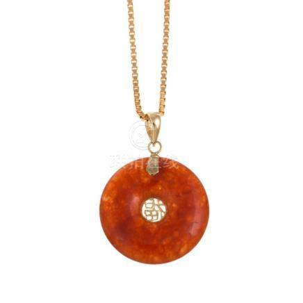 A Ladies 14K Gold Jade Disk Necklace