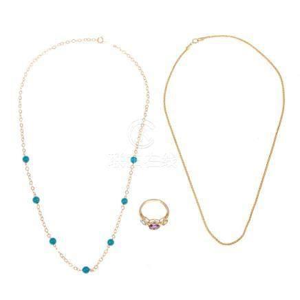 A Pair Ladies Necklaces & Gemstone Ring in 14K