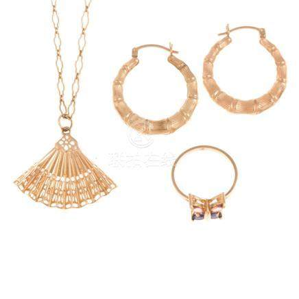 A Trio of Ladies Gold Jewelry