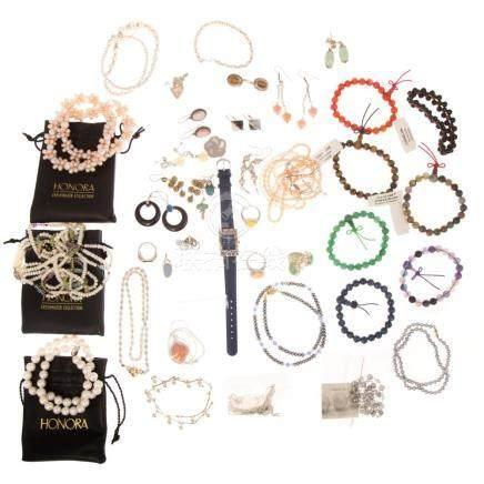 Assorted Ladies Sterling Jewelry & Honora Pearls