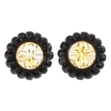 A 14K Carved Citrine & Black Onyx Earrings
