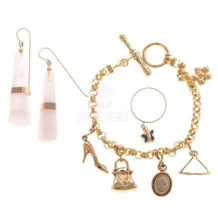 A 14K Charm Bracelet, Earrings & Ring