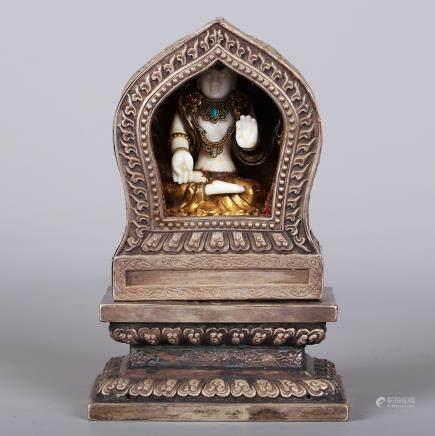CHINESE JADE BUDDHA W/ SILVER BUDDHIST FOKAN