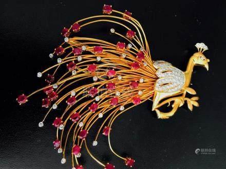 21K Gold, 13.50ct Burma Ruby & VS/F Diamond Pin.