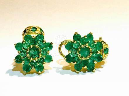 18K Gold and 11.00 CT Emerald Vintage Earrings 11,000