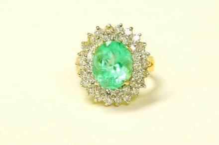 14k Gold 6.5 ct COLOMBIAN Emerald & Diamond Ring
