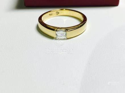 18K GOLD EMERALD CUT DIAMOND ENGAGEMENT RING