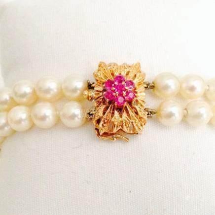 18K, Natural South Sea Pearl and Burma Ruby Bracelet