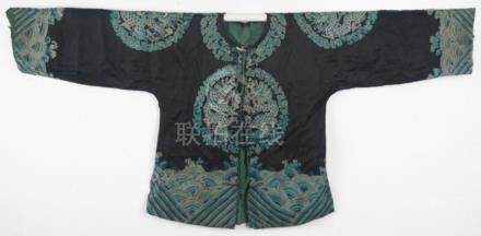 A BLACK COLOR DRAGON EMBROIDERED ROBE