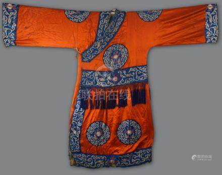 A RARE FIRE AND CLOUD EMBROIDERY ROYAL COURT ROBE
