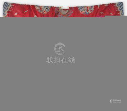 A FINE RED COLOR DRAGON EMBROIDERED ROBE