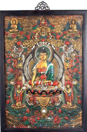 A LARGE FINELY CARVED BUDDHA PANELS