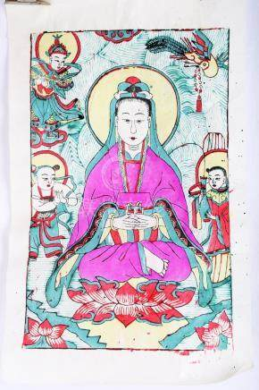 A CHINESE WATER PRINTING WITH GUANYIN.H557.