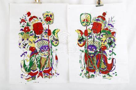(2)  A PAIR OF CHINESE WATER PRINTINGS WITH DOOR