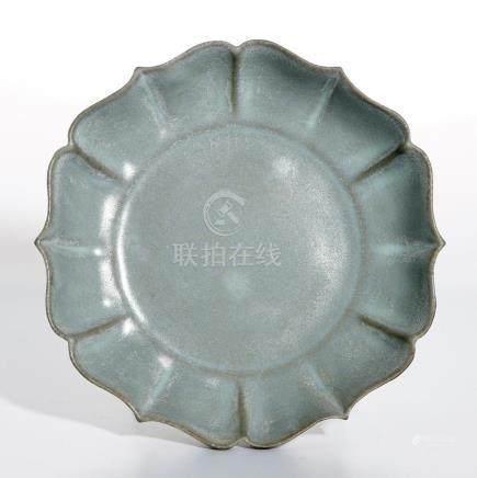 Longchuan Celadon Guan-Type Lotus-Petal Dish