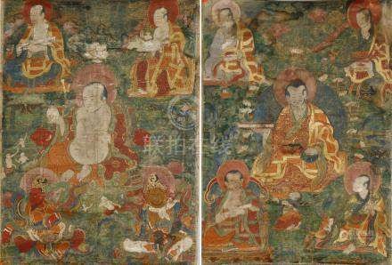 Chinese Thangka Depicting Arhats