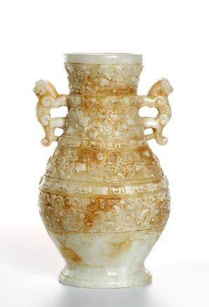 Chinese Celadon and Russet Archaistic Jade Vase