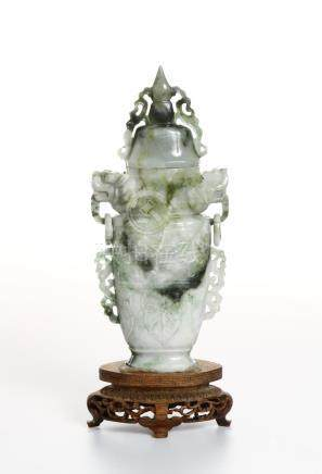 Chinese Jadeite Archaistic Vase and Cover