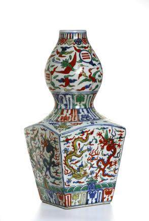 Chinese Wucai Enameled 'Dragon' Double-Gourd Vase