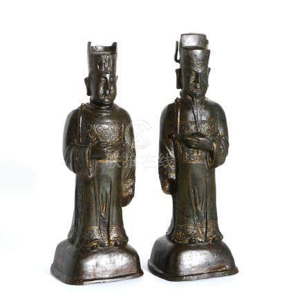 Two Chinese Bronze Figures of Officials