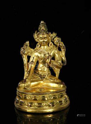 Sino-Tibetan Gilt Bronze Figure of Buddha