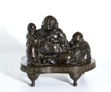 Chinese Bronze Figure of Budai and Children