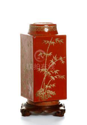 Chinese Red-Ground Cong-Form Vase Converted Lamp