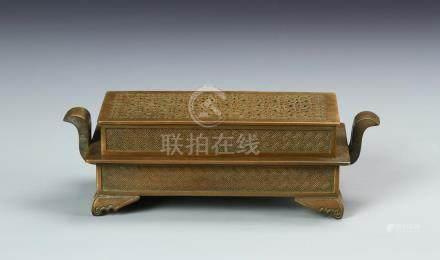 Chinese Bronze Square Censer