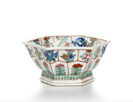Chinese Famille Rose Haxagonal Bowl