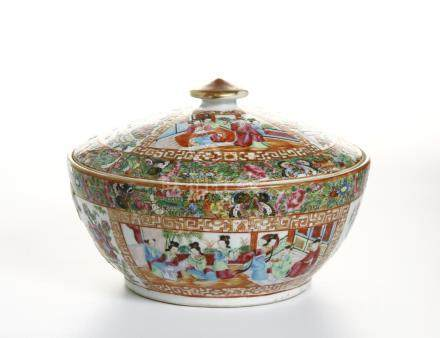 Chinese Canton Famille Rose Bowl and Cover